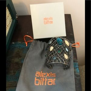 Alexis Bittar Gunmetal Woven Cuff Rare